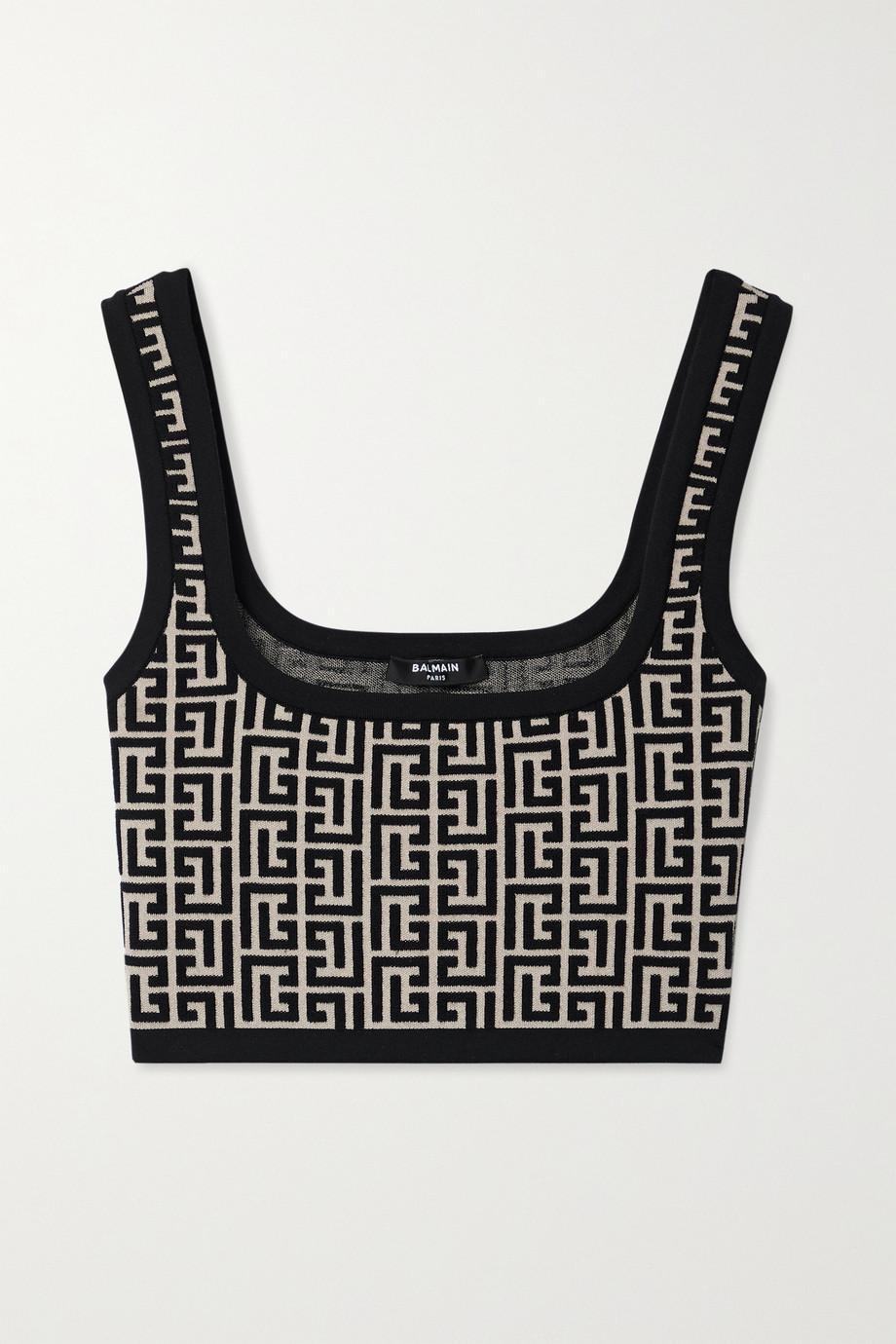 Balmain Cropped jacquard-knit wool-blend top