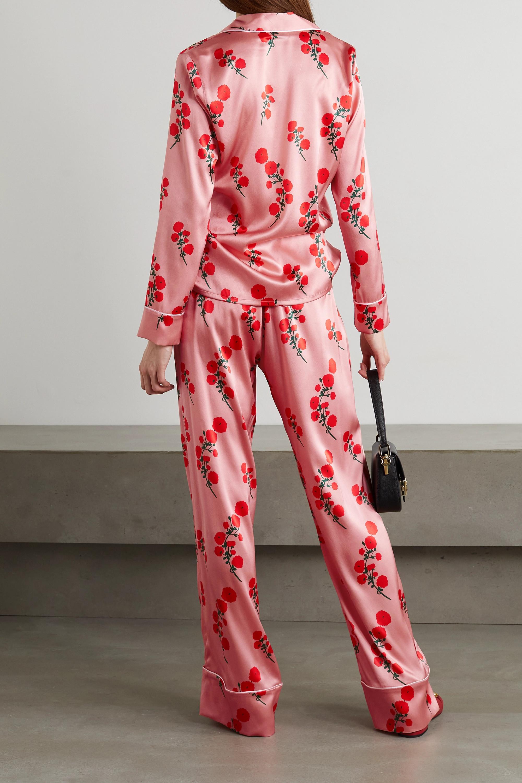 BERNADETTE Pyjama en satin de soie mélangée à imprimé fleuri et à passepoils