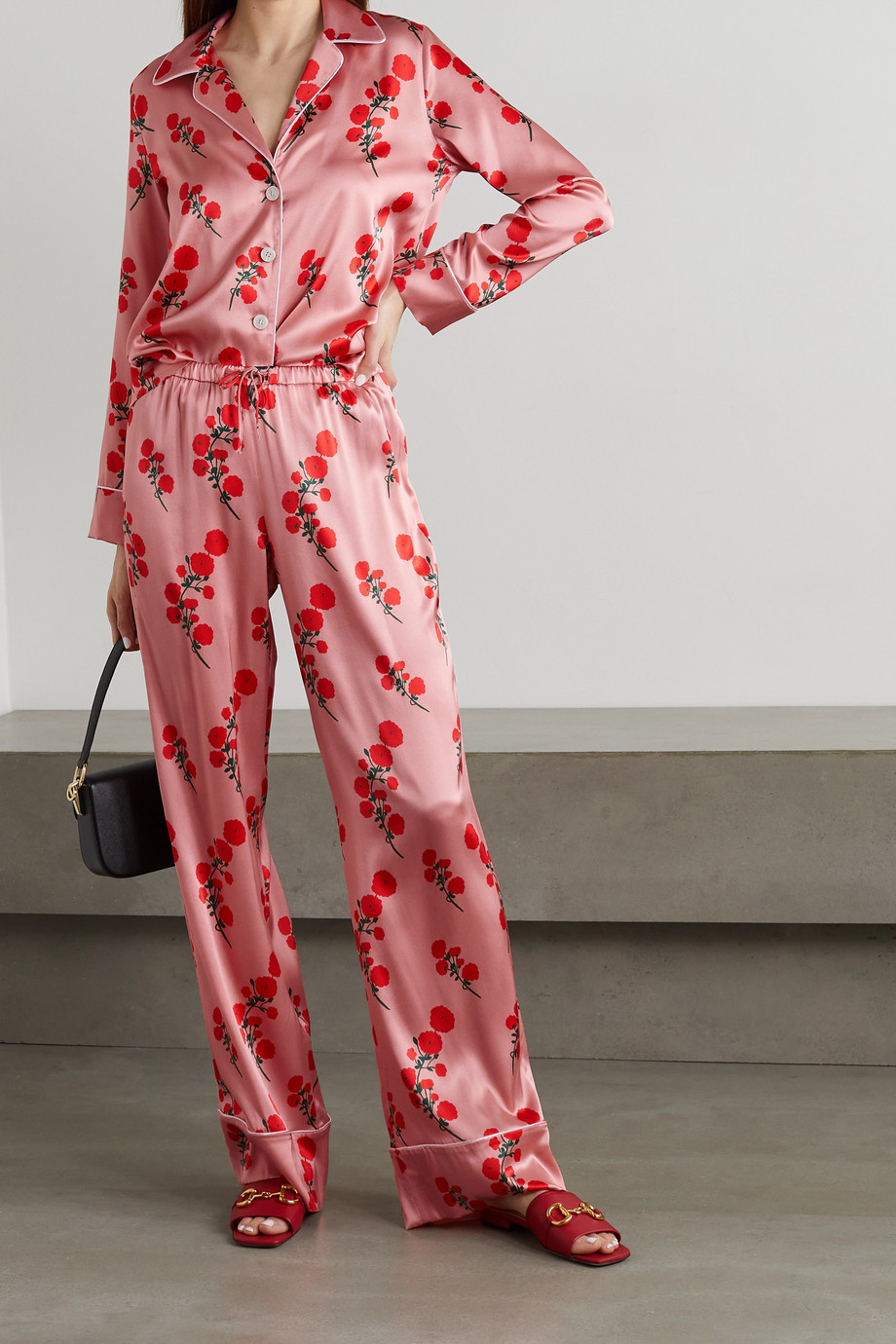 BERNADETTE Piped floral-print silk-blend satin pajama set