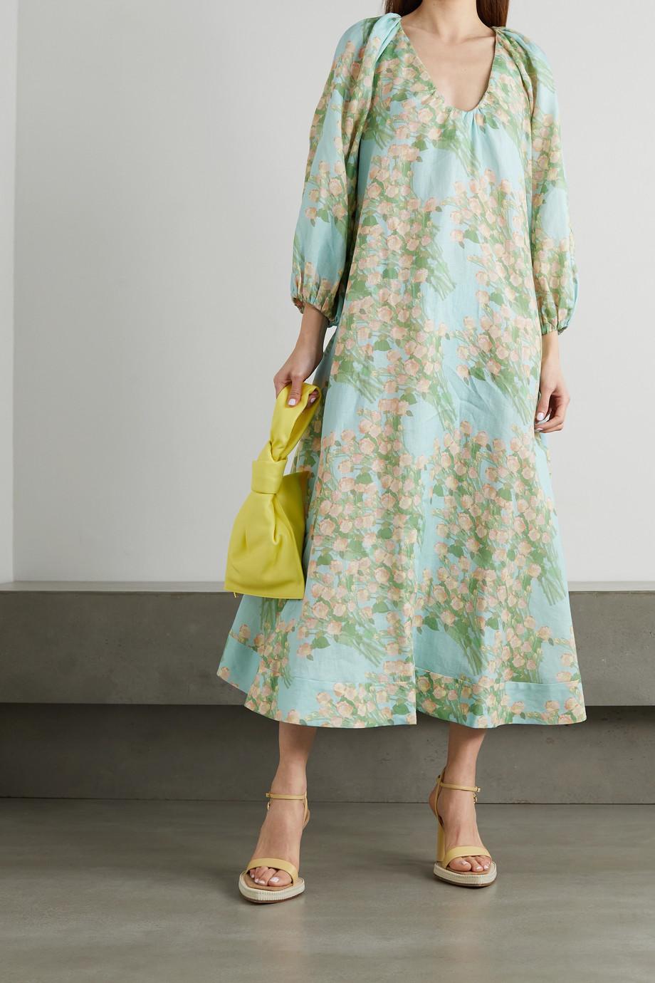 BERNADETTE Georgette Robe aus Leinen mit Blumenprint