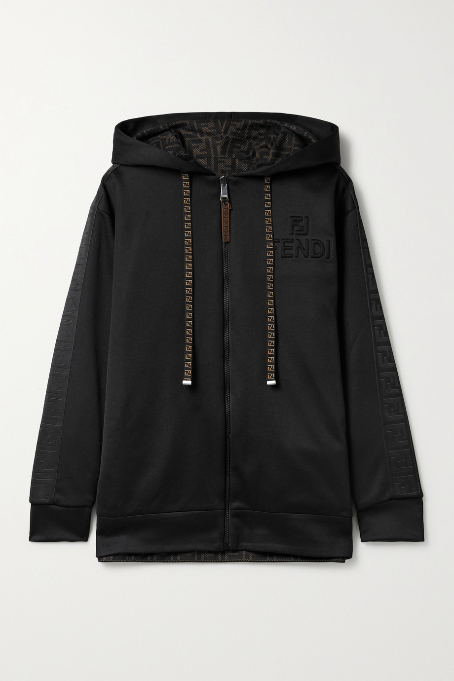 Fendi Reversible tech-jersey and printed mesh hoodie