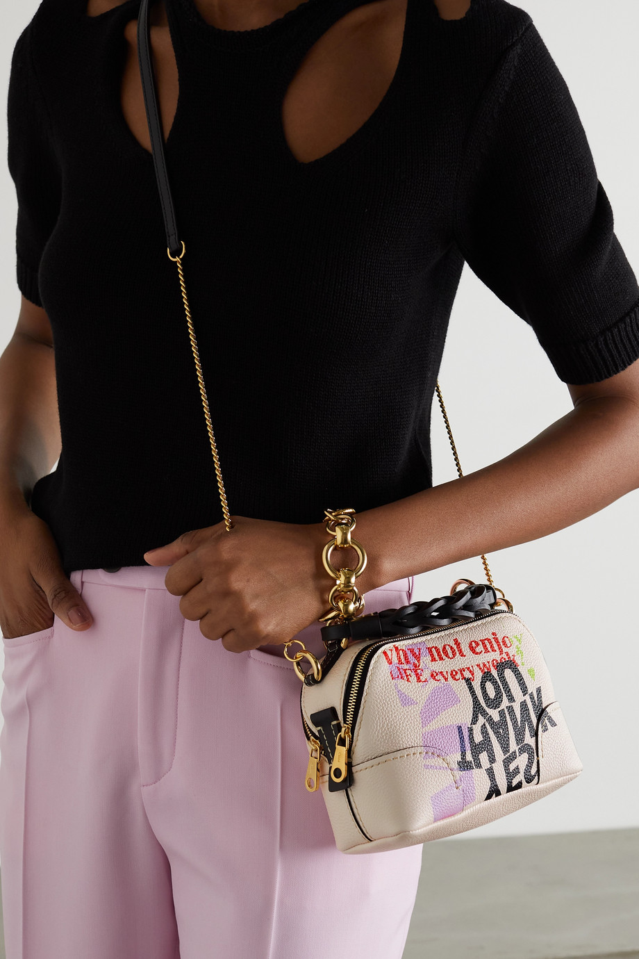 Chloé + Corita Kent Daria mini printed textured and smooth leather shoulder bag