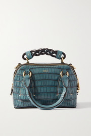 Chloé Daria small croc-effect and smooth leather tote
