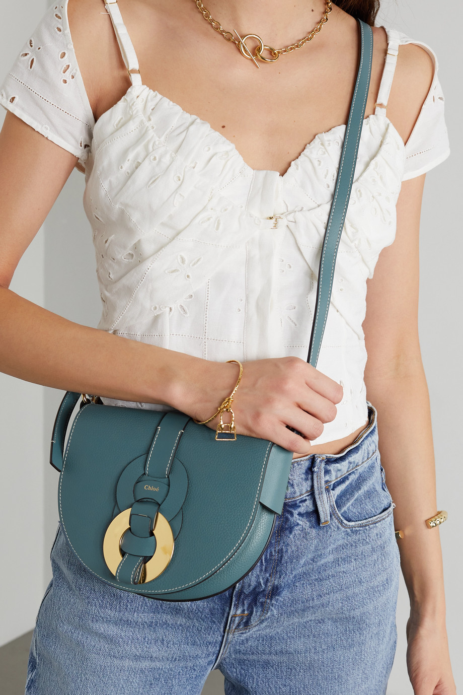 Chloé Darryl small textured-leather shoulder bag