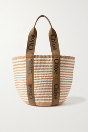 Chloé Woody large printed canvas and leather-trimmed striped raffia basket bag