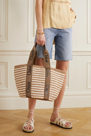 Chloé Woody large printed canvas and leather-trimmed striped raffia tote