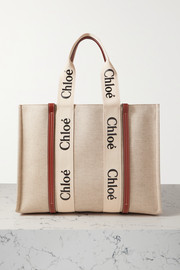 Chloé Woody large leather-trimmed cotton-canvas tote