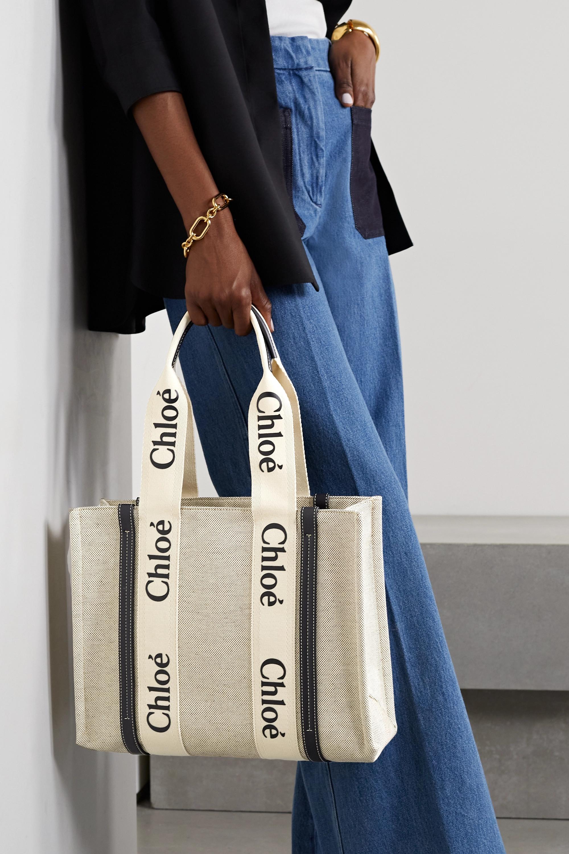 Chloé Woody mittelgroße Tote aus Baumwoll-Canvas mit Lederbesätzen