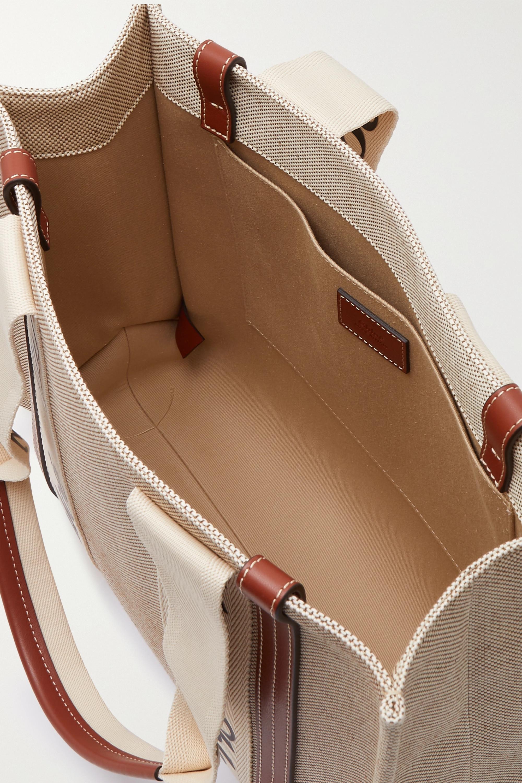 Chloé Sac à main en toile de coton à finitions en cuir Woody Medium