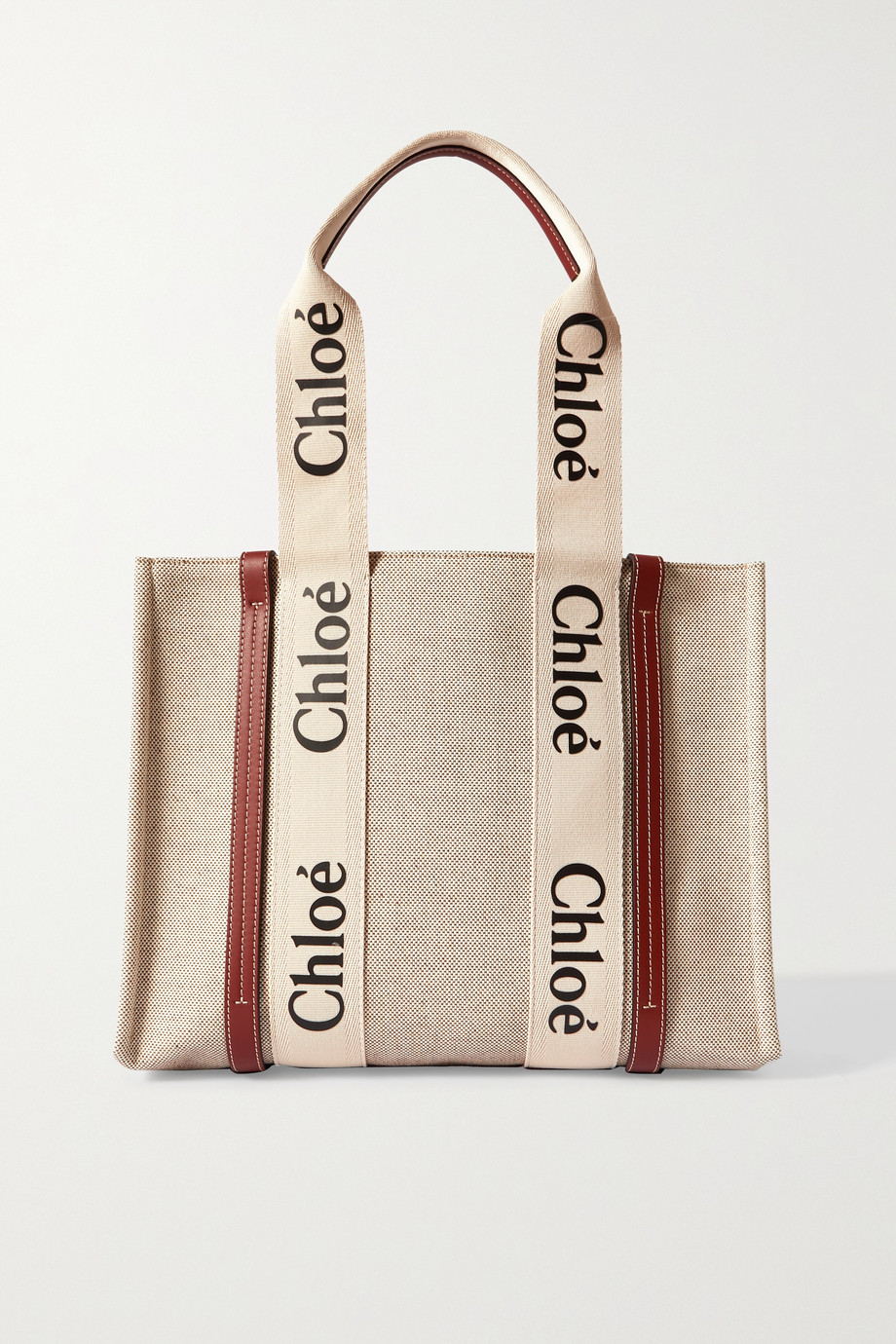 Chloé Woody medium leather-trimmed cotton-canvas tote