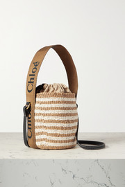 Chloé Woody small leather-trimmed striped raffia basket bag