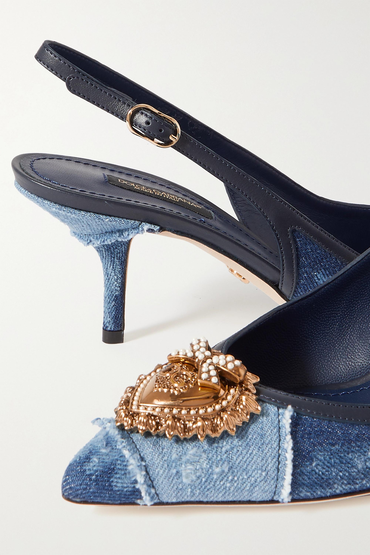 Dolce & Gabbana Embellished leather-trimmed denim slingback pumps