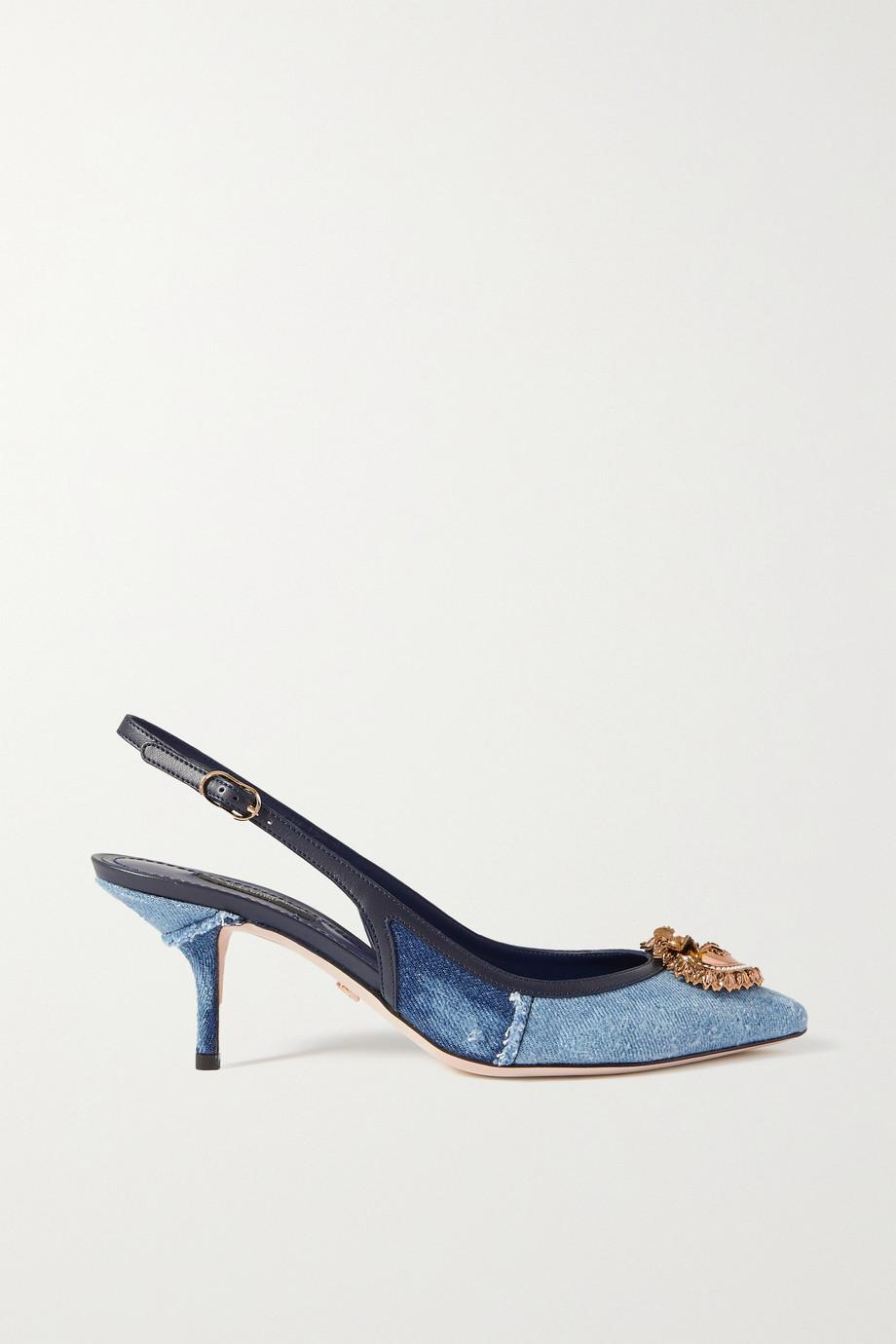 Dolce & Gabbana Escarpins à brides en jean à finitions en cuir et à ornements