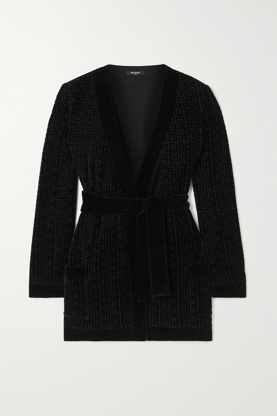 Balmain Belted flocked cotton-blend velvet cardigan