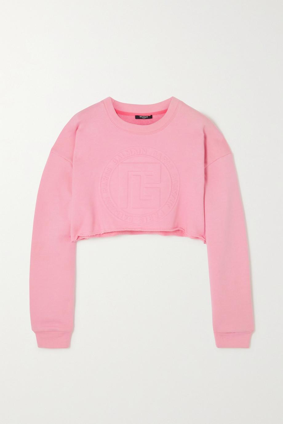 Balmain Verkürztes Sweatshirt aus einer Baumwoll-Kaschmirmischung mit Prägung