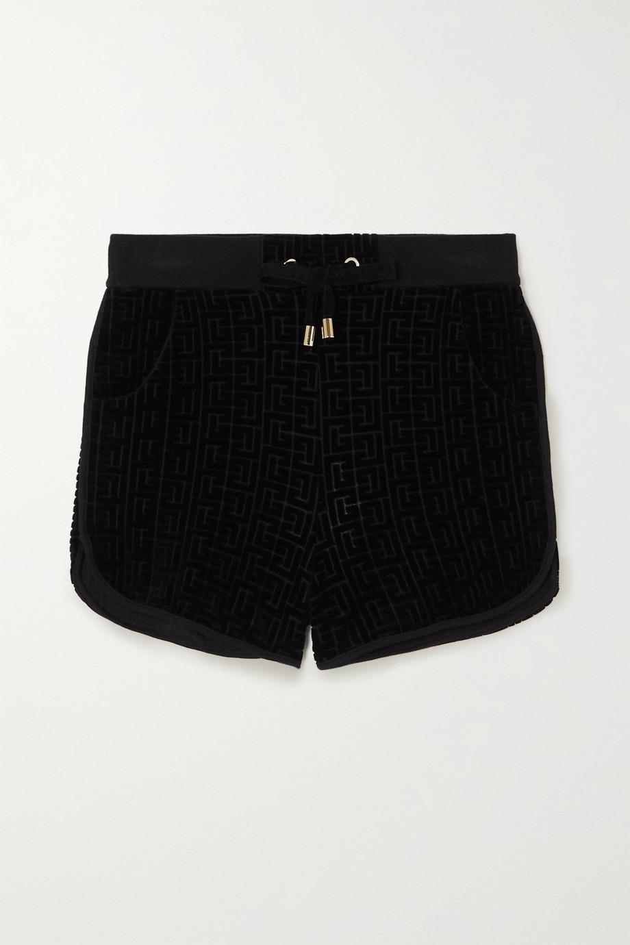 Balmain Flocked cotton-blend shorts