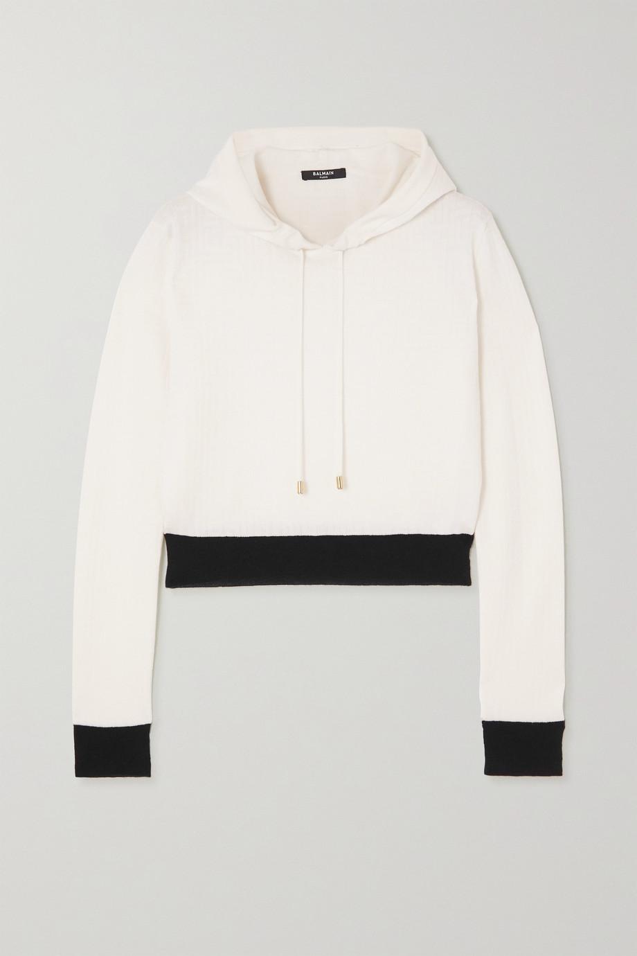 Balmain Cropped two-tone jacquard-knit wool-blend hoodie