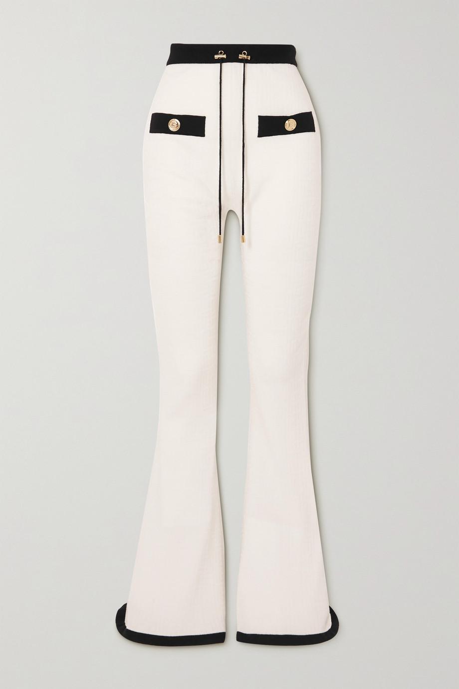 Balmain Two-tone jacquard-knit wool-blend track pants