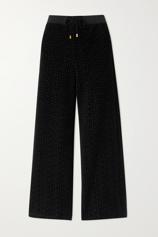 Balmain Flocked cotton-blend track pants