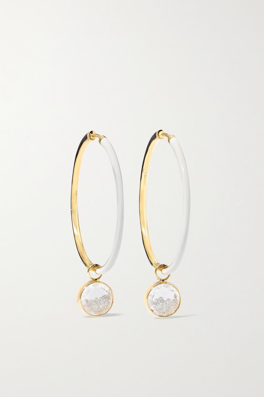 Moritz Glik 18-karat gold, enamel, sapphire crystal and diamond hoop earrings