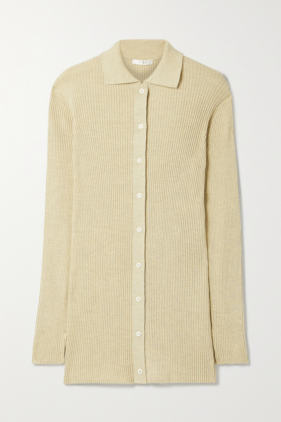 The Row Callista ribbed silk and cotton-blend cardigan