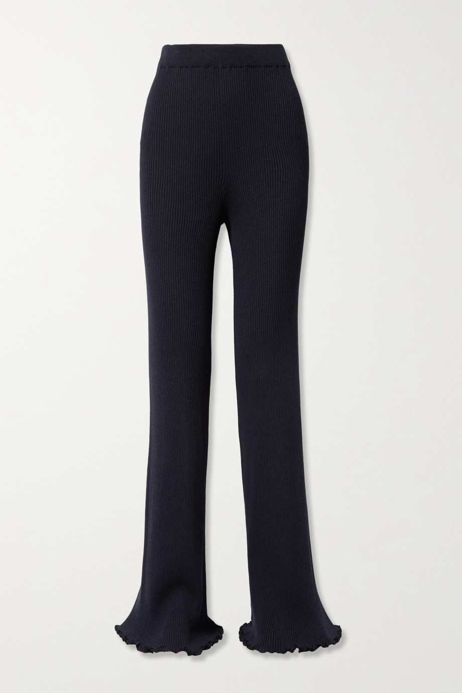 The Row Carmine ribbed silk and cotton-blend straight-leg pants