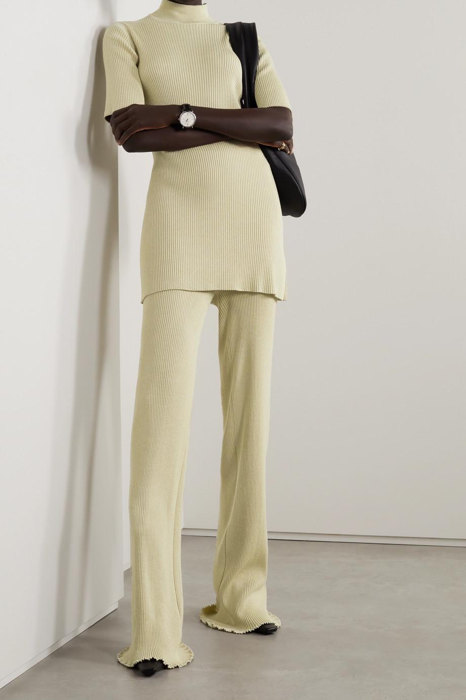 The Row Carmine ribbed silk and cotton-blend straight-leg pants
