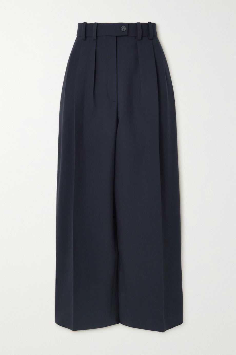 The Row Marian pleated wool-blend straight-leg pants