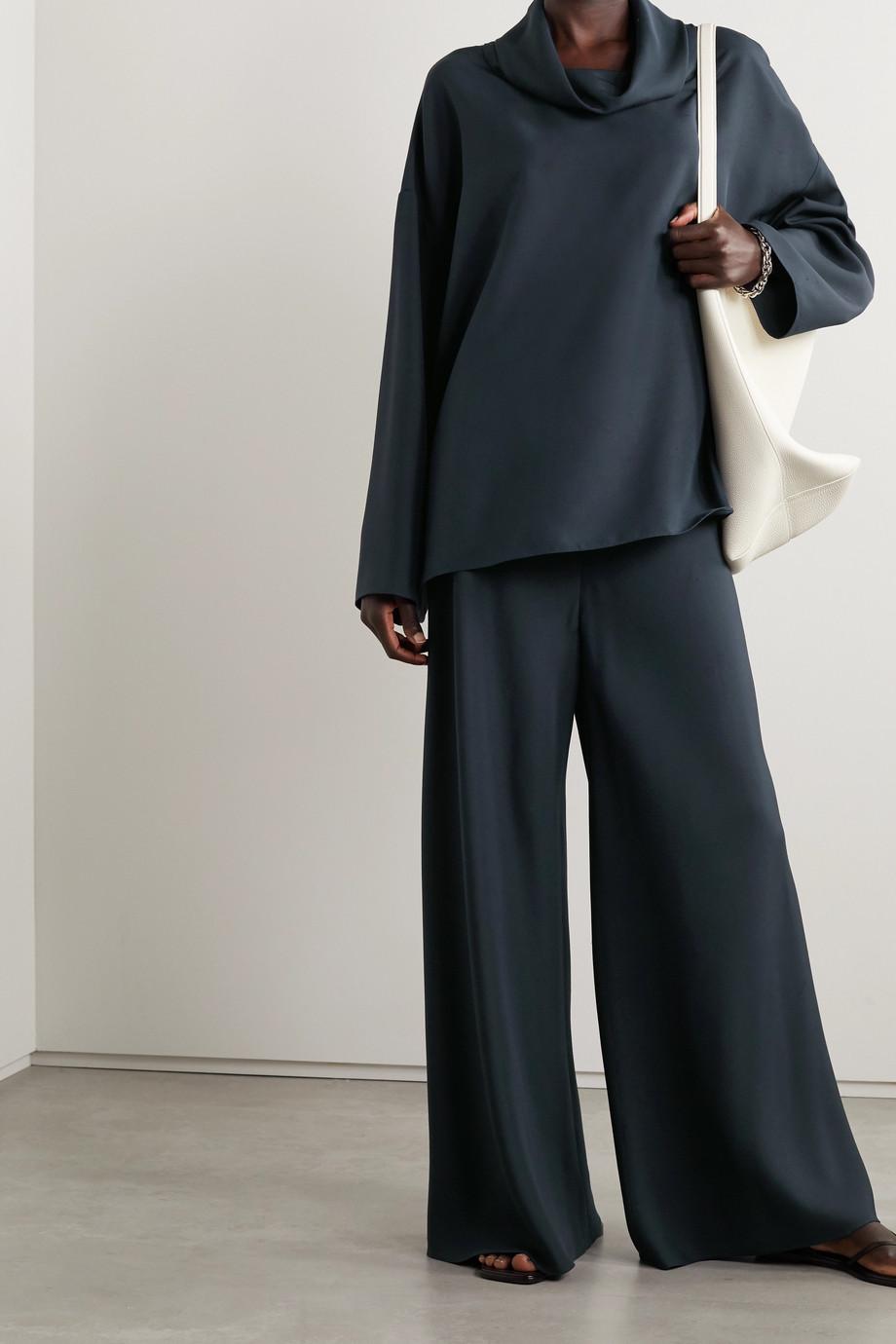 The Row Pantalon large en shantung de soie Andres