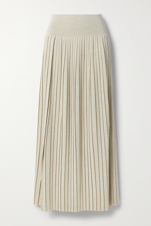 The Row Jupe longue plissée en laine et soie mélangées Coraline