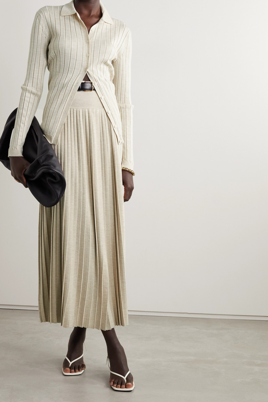 The Row Coraline pleated wool and silk-blend maxi skirt