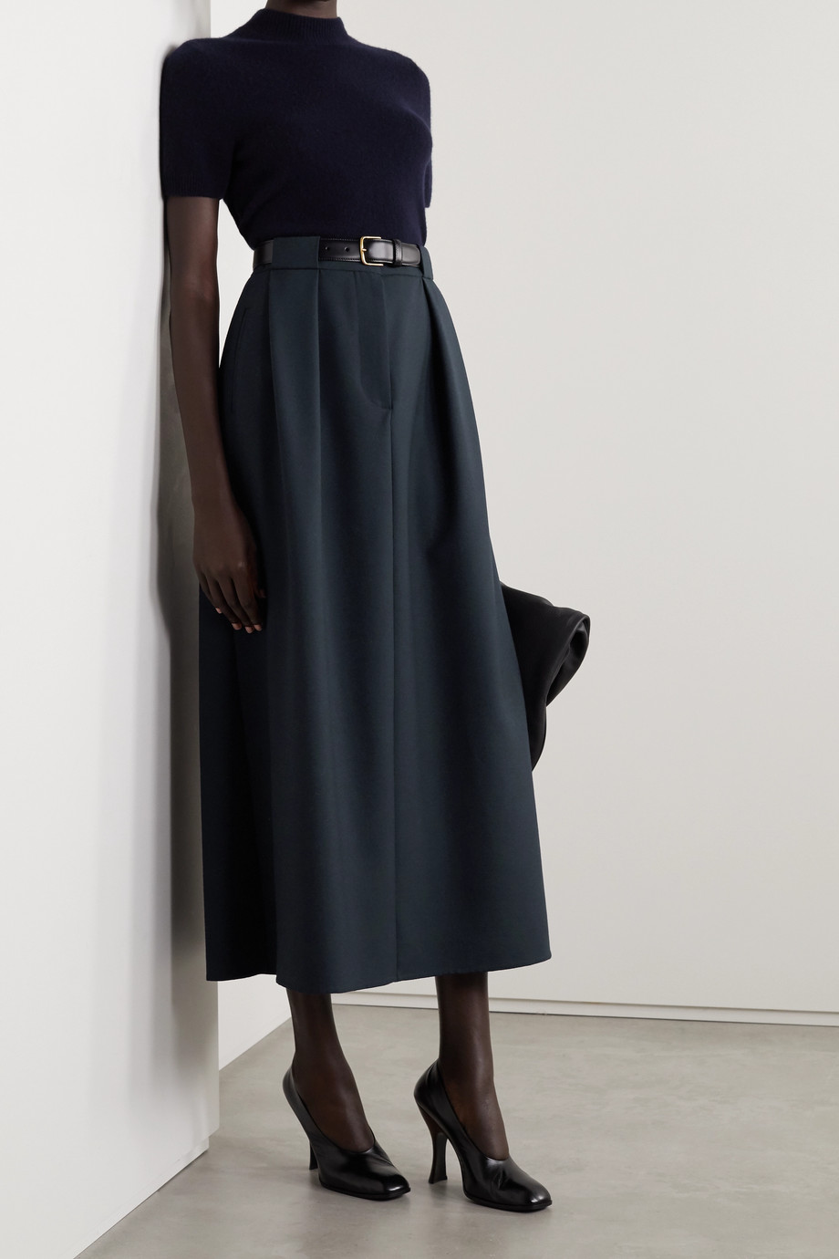 The Row Jakko pleated wool-blend midi skirt