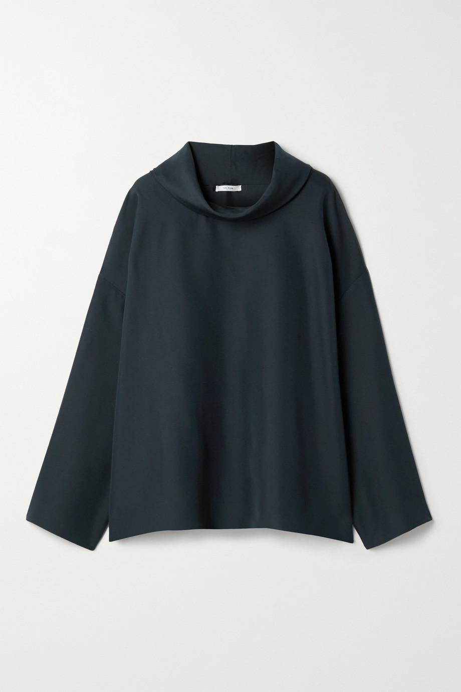 The Row Gasly draped silk-shantung top