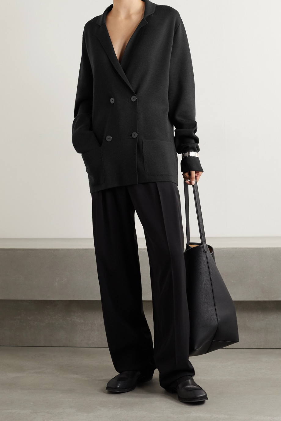 The Row Chopok double-breasted oversized wool and silk-blend blazer