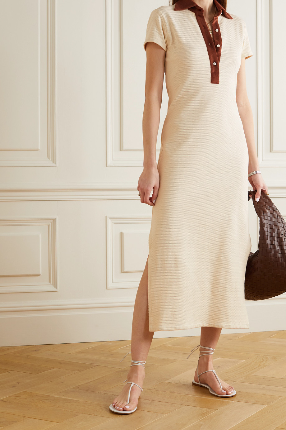 Giuliva Heritage The Daphne two-tone cotton-piqué and terry midi dress