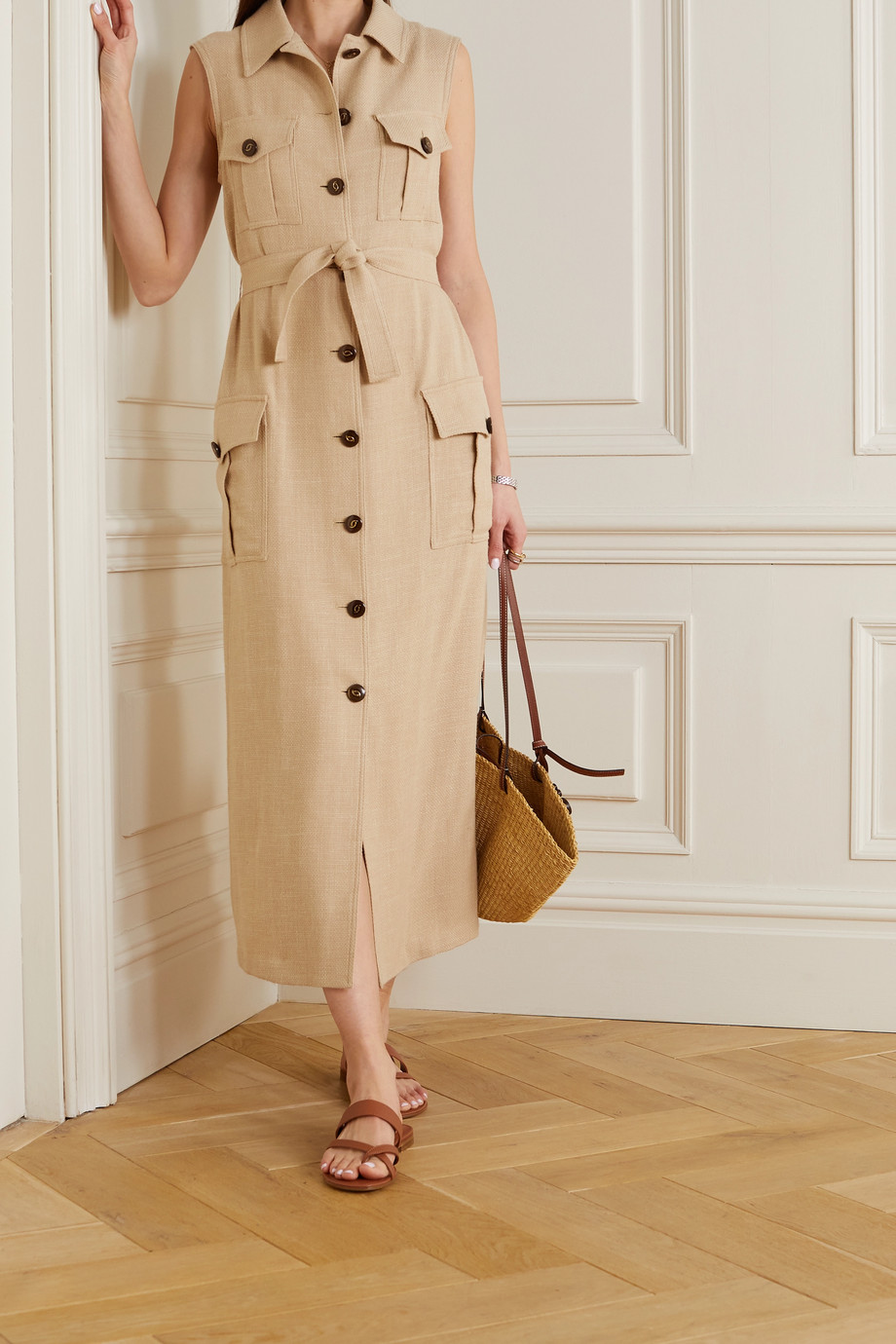 Giuliva Heritage The Mary Angel wool, silk and linen-blend midi dress