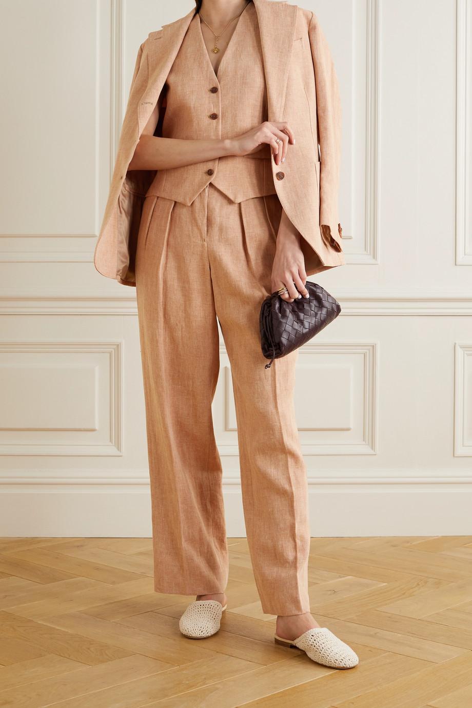 Giuliva Heritage Pantalon droit en lin à chevrons The Venicia