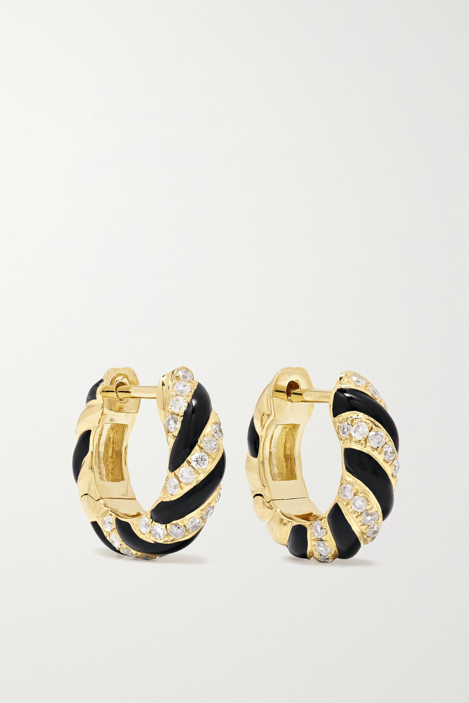 Yvonne Léon 9-karat gold, enamel and diamond earrings