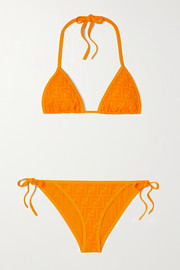 Fendi Embossed triangle halterneck bikini