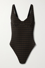 Fendi Stretch jacquard-knit underwired swimsuit