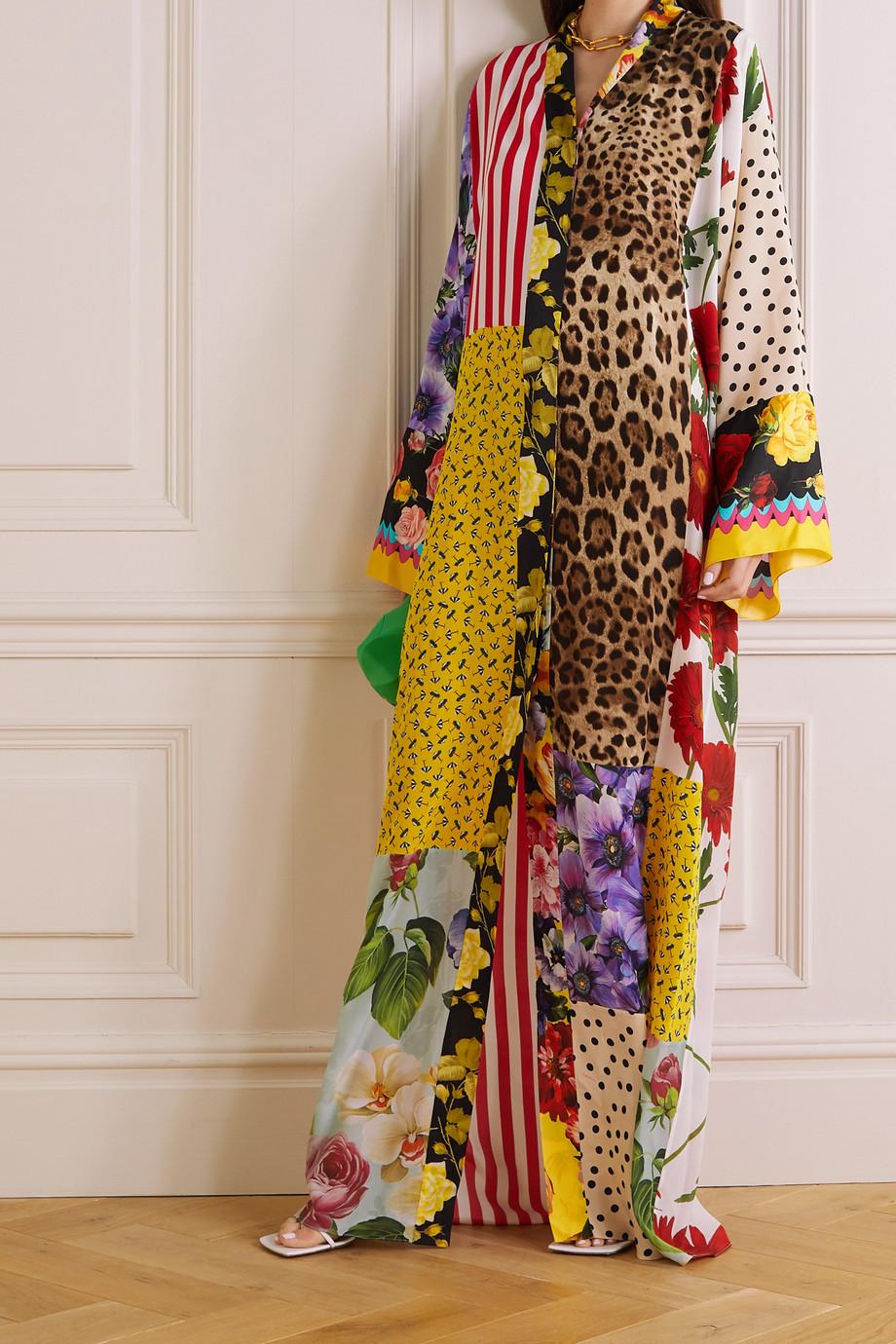 Dolce & Gabbana Robe longue patchwork en crêpe de Chine de soie imprimé