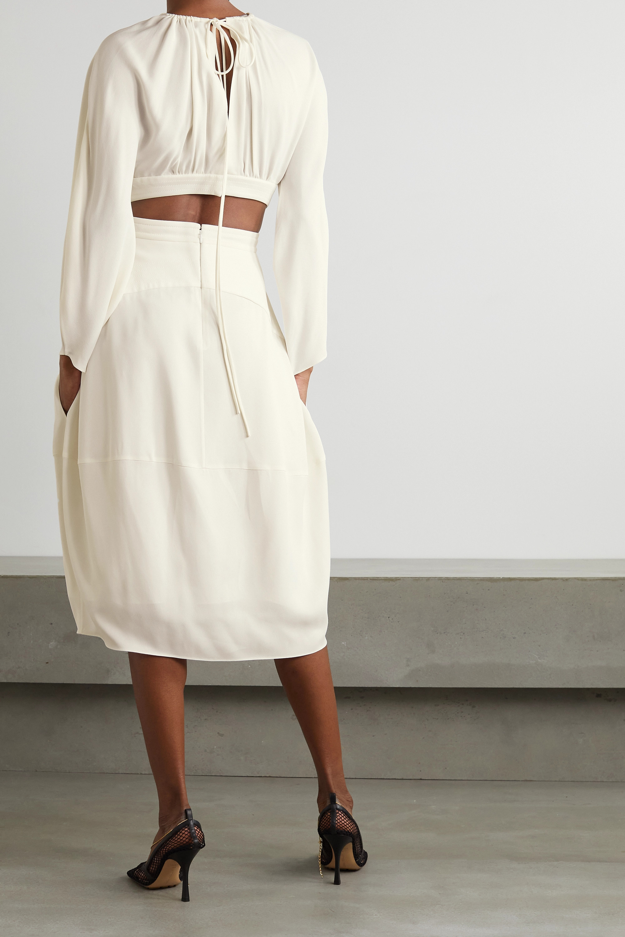 Stella McCartney Amara gathered cutout crepe midi dress