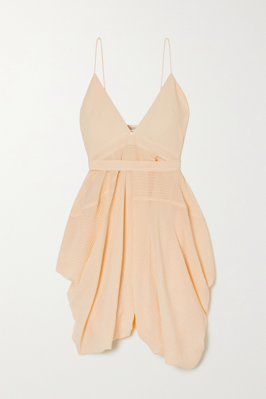 Stella McCartney Jenny asymmetric draped silk-seersucker mini dress