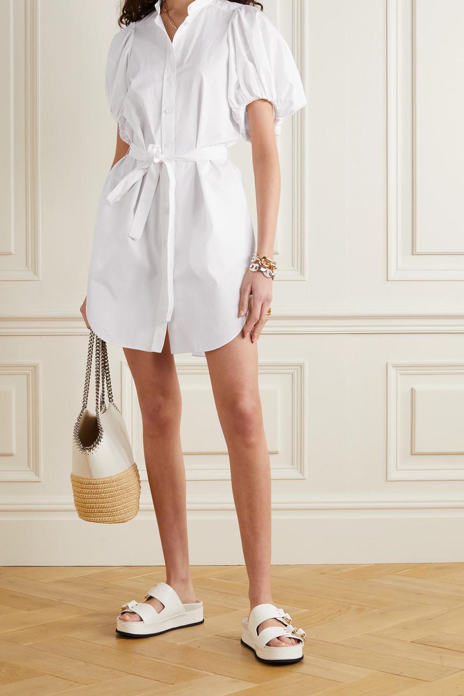 Stella McCartney Anastasia belted organic cotton-poplin mini shirt dress