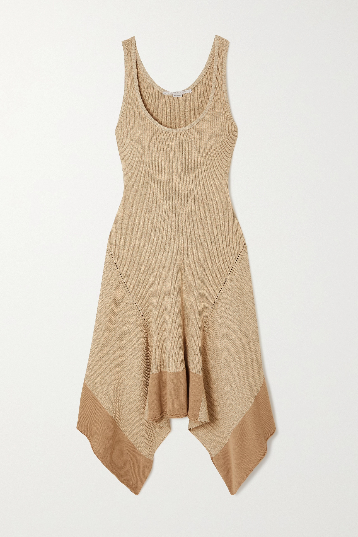 Stella McCartney Asymmetric ribbed organic cotton-blend dress