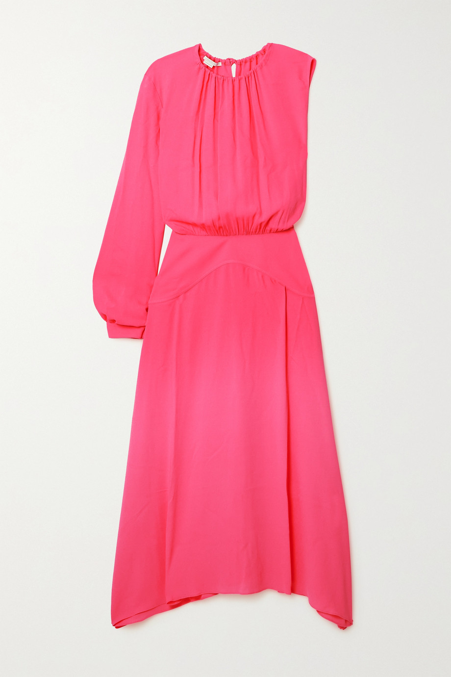 Stella McCartney Cassandra one-sleeve gathered jersey midi dress