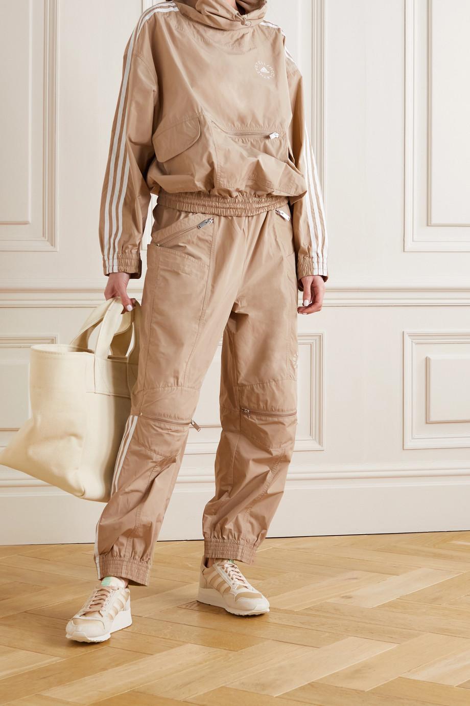 Stella McCartney + Adidas Originals Jayla striped hooded shell jacket
