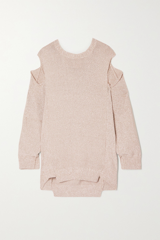 Stella McCartney Oversized cutout paneled twill and organic cotton-blend sweater
