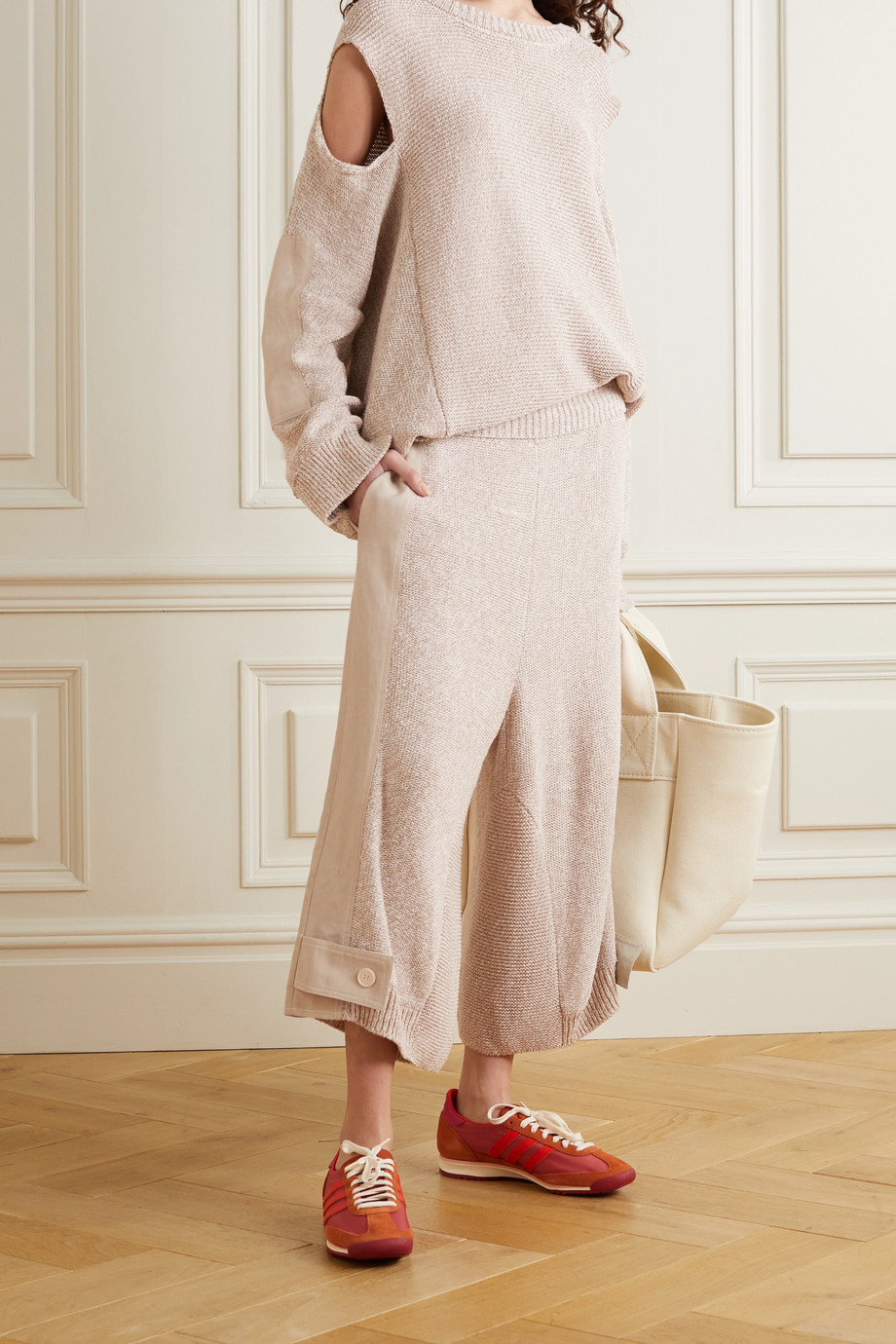 Stella McCartney Cropped paneled twill and organic cotton-blend pants