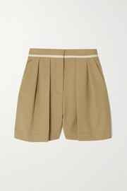 Stella McCartney Ariel piped pleated organic cotton shorts